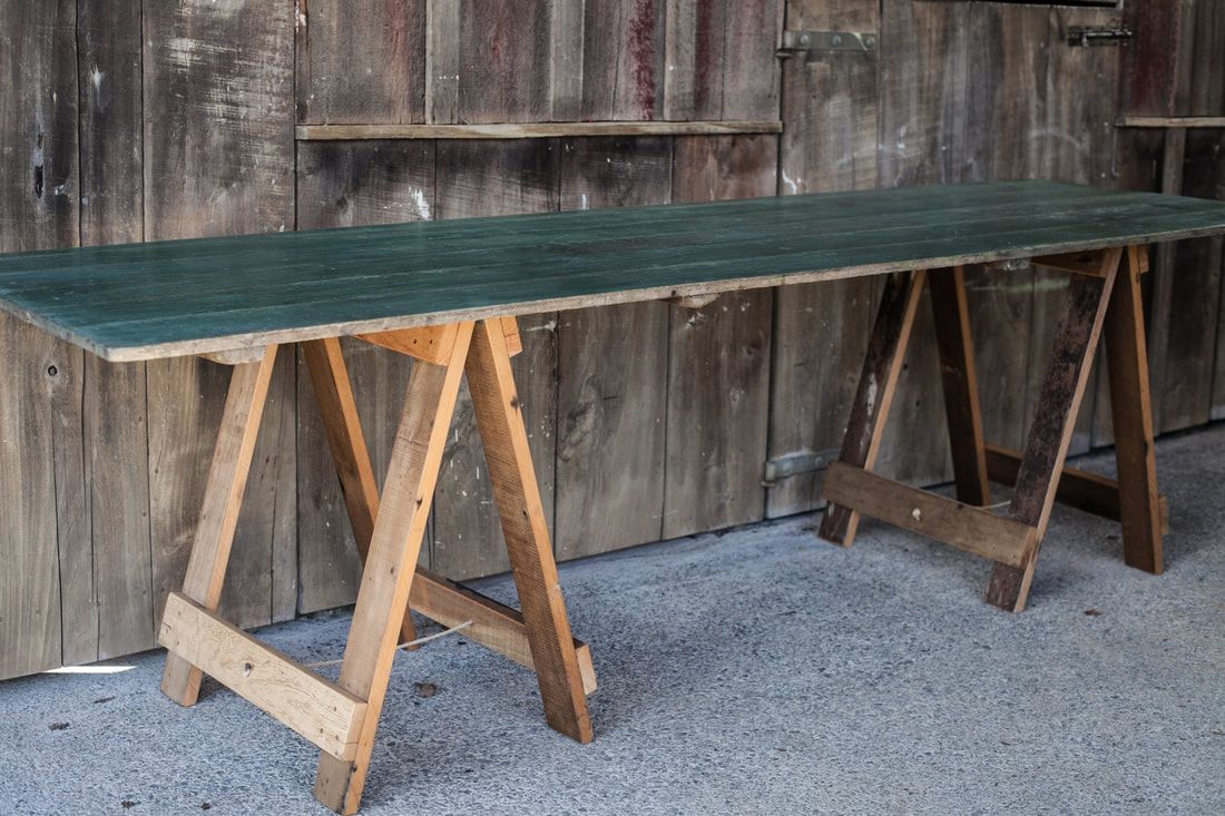 Ta02 green wooden trestle table x1